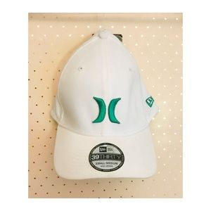 5e57df902 White Hurley Hat with Teal Green Logo NWT